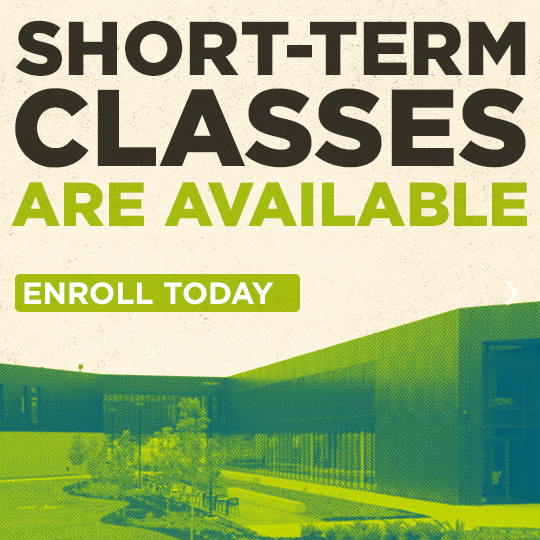 "Exterior view CTEC building with the words ""Short term classes are available. Enroll today."