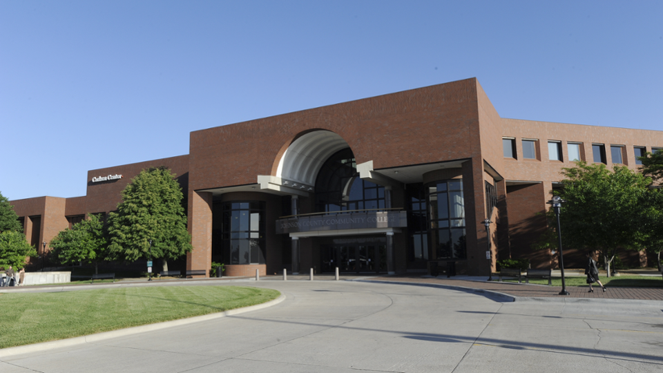Carlsen Center north entrance. Parking garages on the east and west side of the building.
