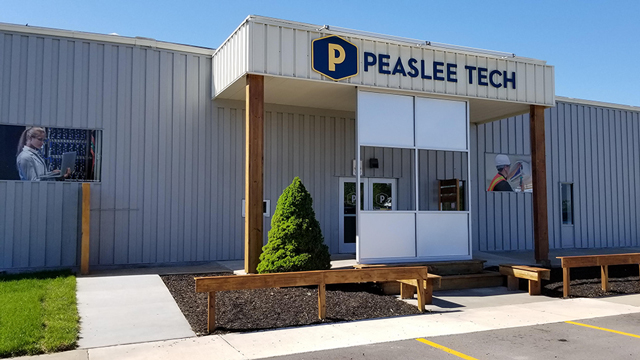 The entrance to the Dwayne Peaslee Technical Training Center