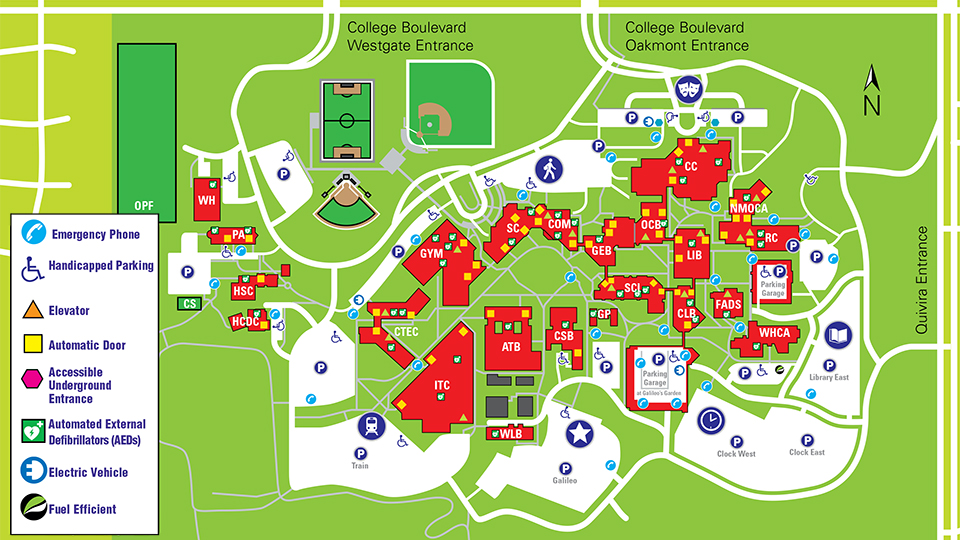 JCCC Campus Map with Handicap Accessible Locations