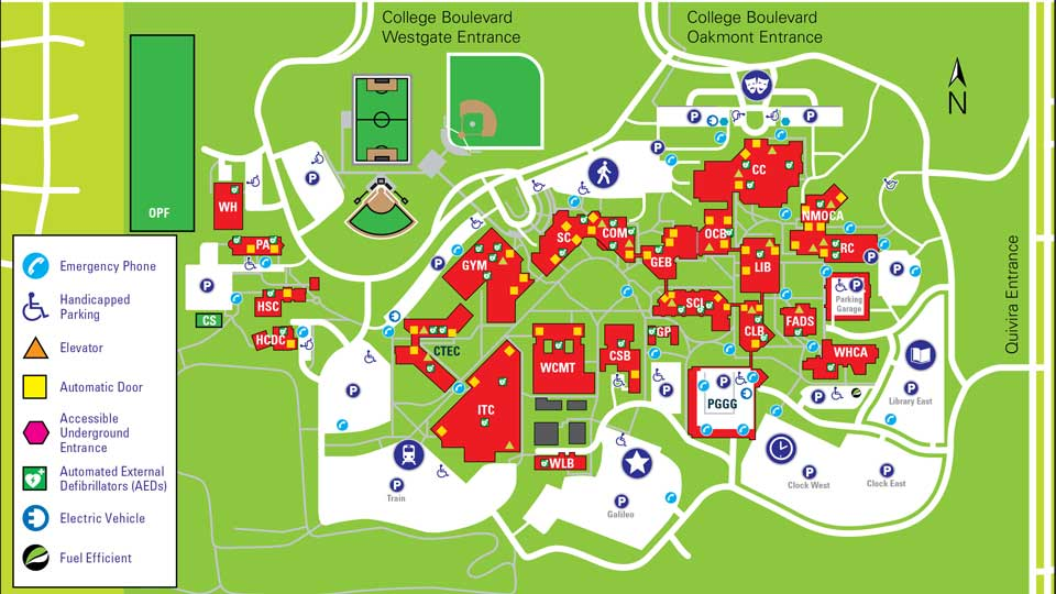 A map of the JCCC campus that shows parking lots and building entrances.
