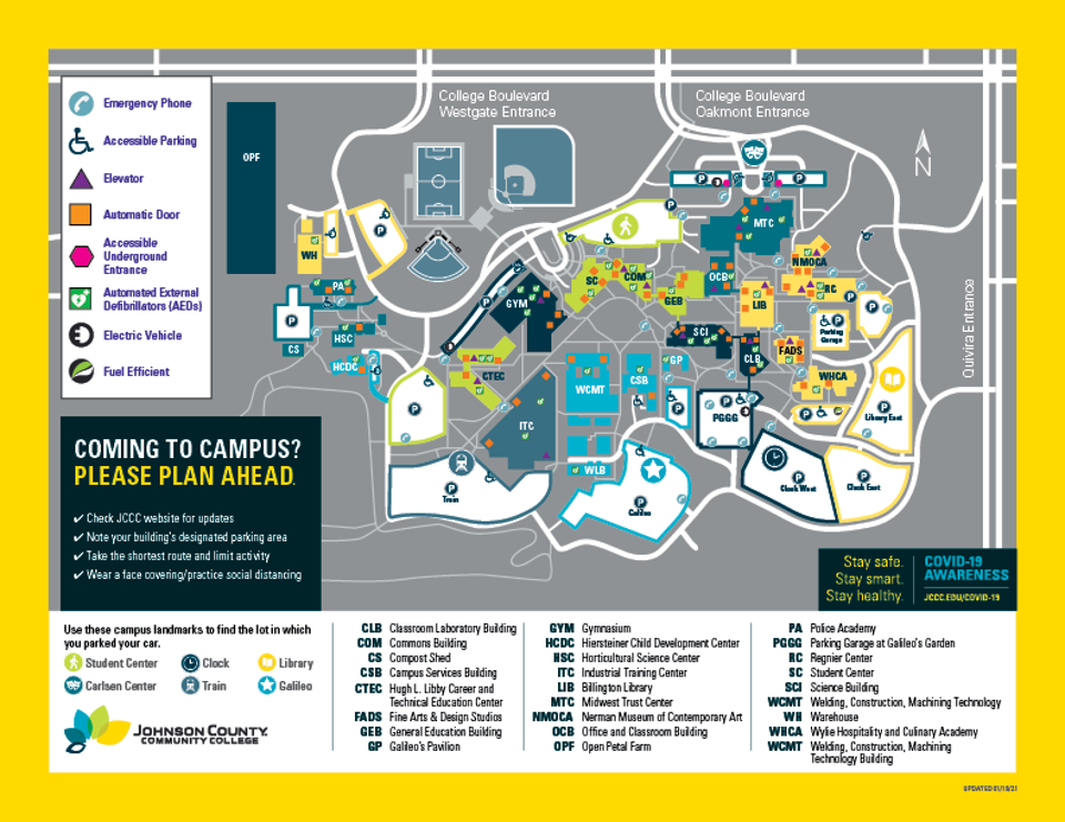 Map of the jCCC campus
