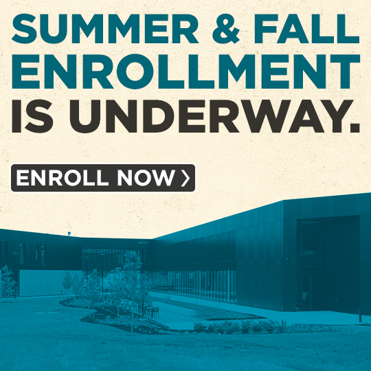 Exterior view of ITC with the words Summer & Fall enrollment is underway. Enroll now