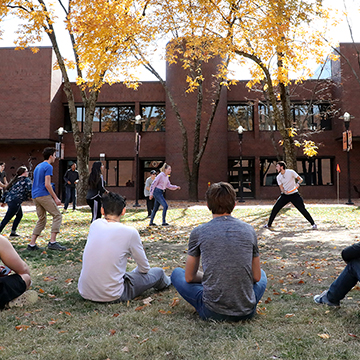 The JCCC campus offers many areas where students can gather to socialize.
