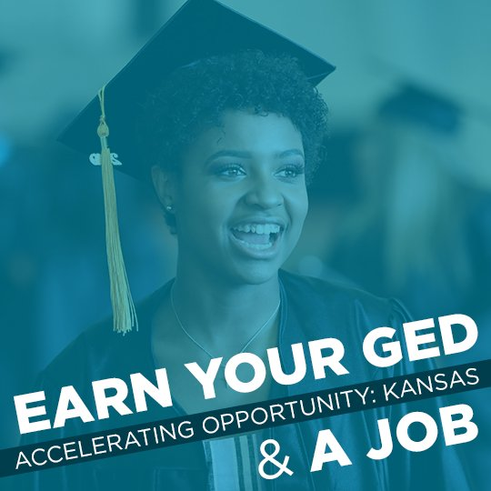 "A smiling adult woman with a mortarboard and the words ""Earn your GED and a job with Accelerating Opportunity: Kansas"""