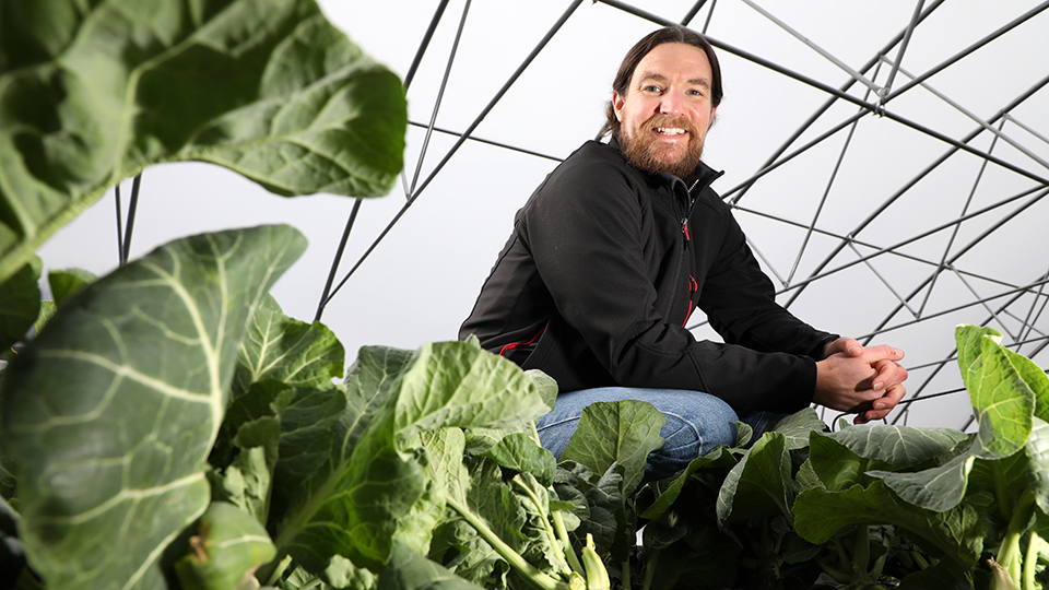 Neil Rudisill poses among plants inside his greenhouse
