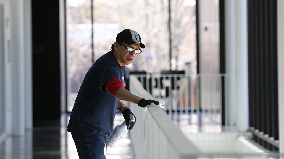 Housekeeping and maintenance crews work to clean and sanitize campus.