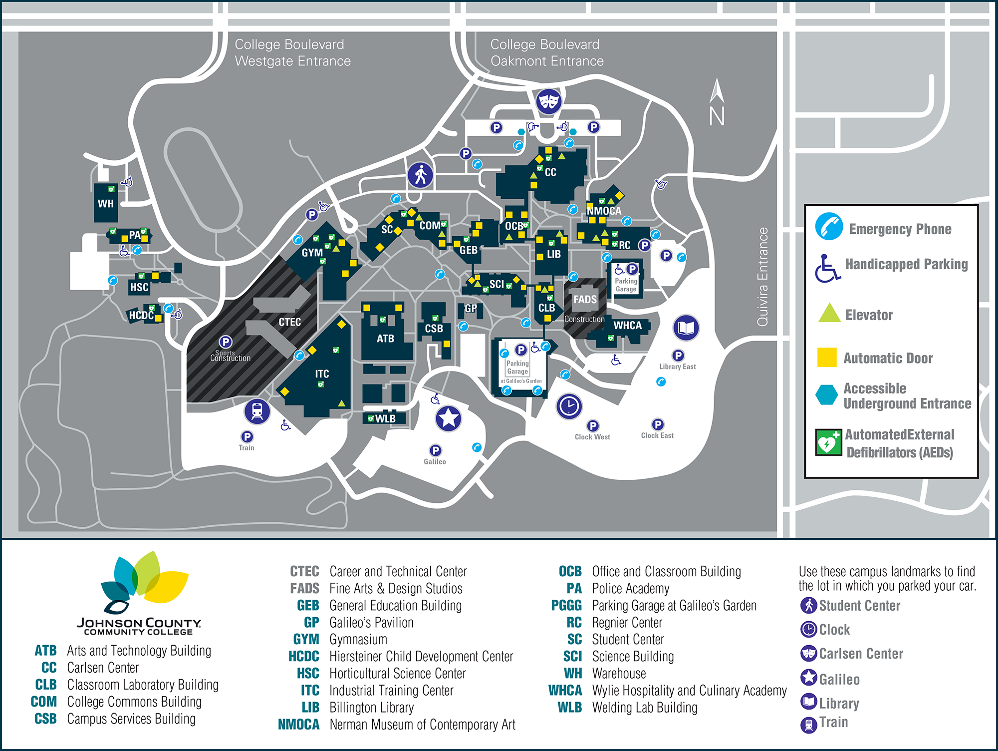 picture relating to Door County Map Printable known as Johnson County Neighborhood Faculty Campus Map