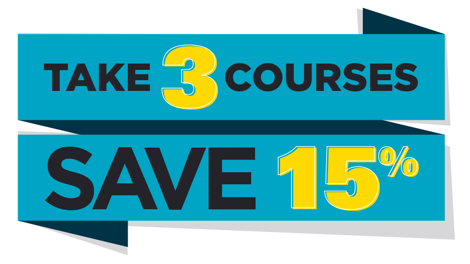 "A ribbon decorated by words that read ""Take 3 courses and save 15%"""