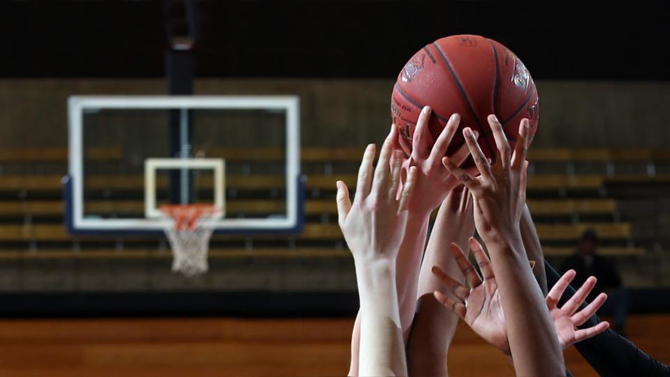 Several basketball players' hands reaching up to grab a basketball