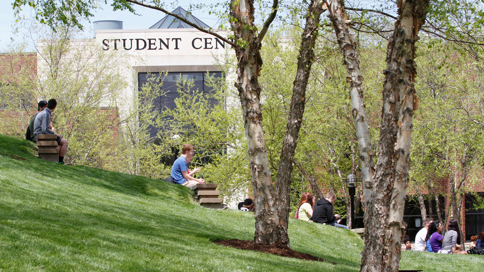 Students sitting on the hill in front of the Student Center in the summertime.