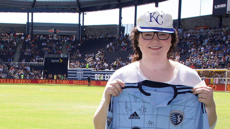 A JCCC representative at the Sporting Kansas City stadium