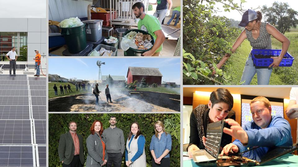 A montage of photos of JCCC's sustainability program
