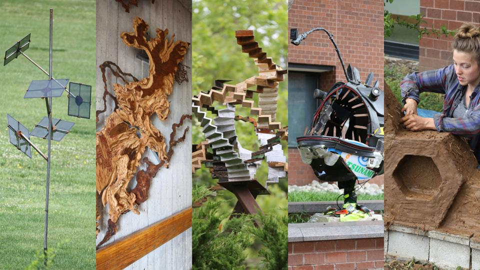 A montage of the five sustainability sculptures placed in 2016.