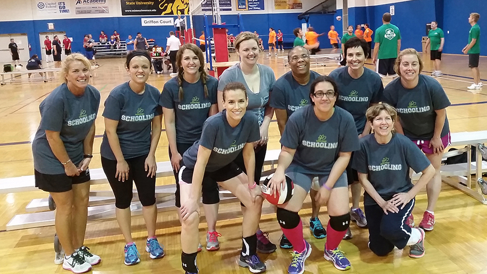 The JCCC Corporate Challenge volleyball team