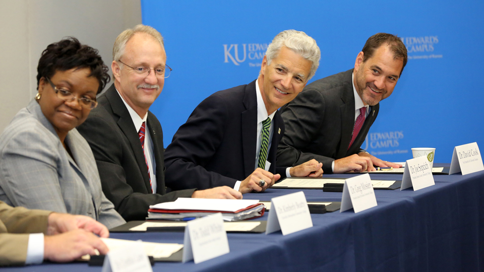 Left to right: Dr. Kimberly Beatty, Chancellor of Metropolitan Community College; Dr. Greg Mosier, President of Kansas City Kansas Community College; Dr. Joe Sopcich, President of Johnson County Community College; Dr. David Cook, Vice Chancellor of KU Edwards Campus