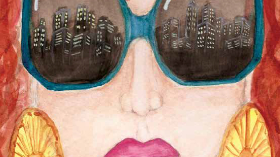 Close-up of fashion show poster showing a woman wearing sunglasses with a city skyline reflected in the lenses