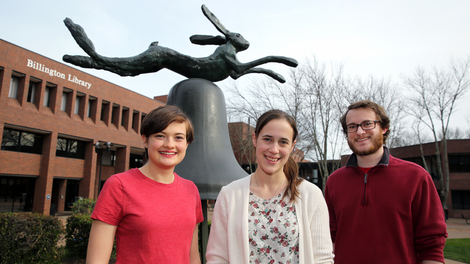 The 2018 Hare & Bell Academic Writing Contest winners are (from left to right) Savannah Price, Talita Shirky and Brandon Bender.