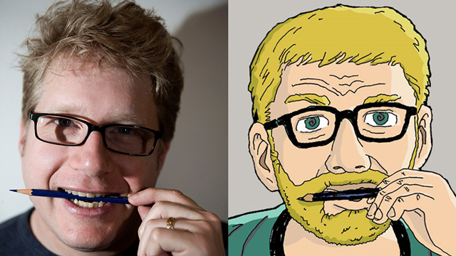 Josh Neufeld holding a pencil in his mouth next to a cartoon drawing of himself with a beard holding a pencil in his mouth.